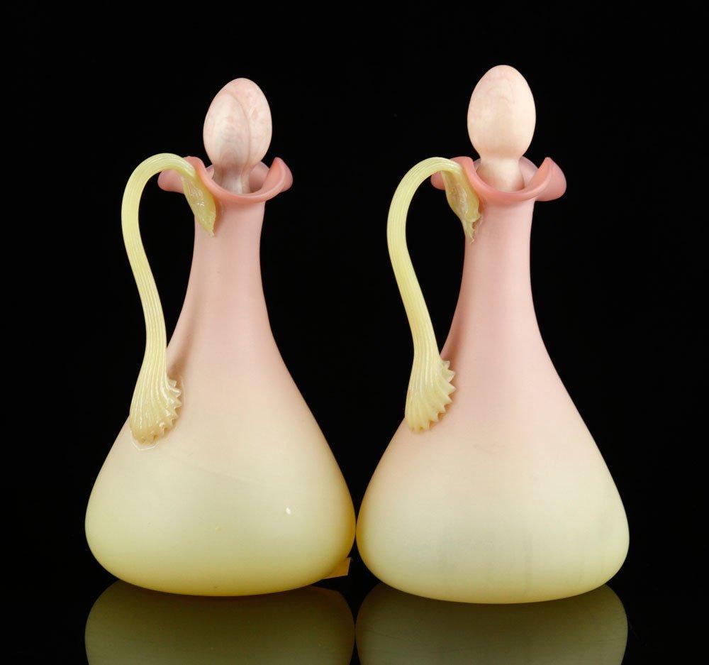 Pr. Burmese Glass Cruets - 2