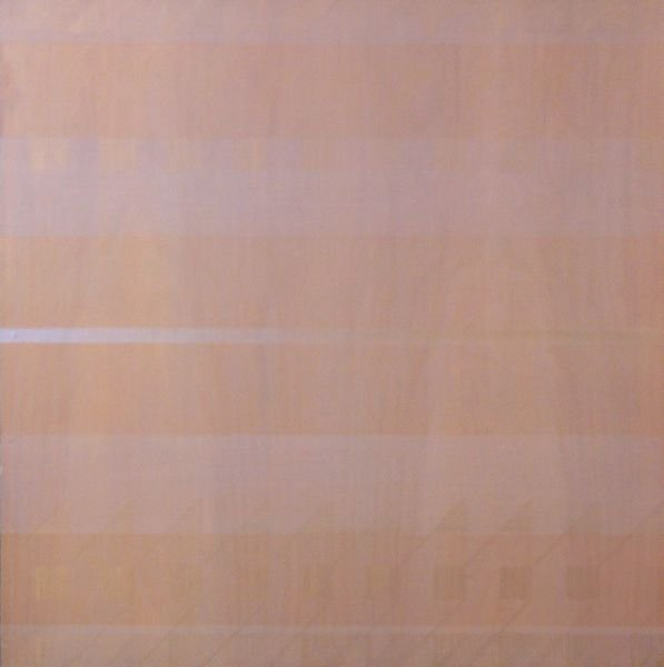 1002: Rose Olson, Blue Line, Acrylic on Wood, 20th C.