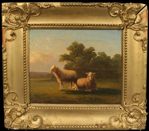 9: SIGNED THOMAS HILL, SHEEP IN PASTURE, O/C, 1852