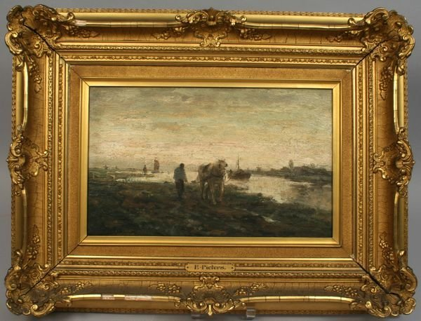 11: SIGNED PIETERS, HORSE AND DROVER, OIL / PANEL