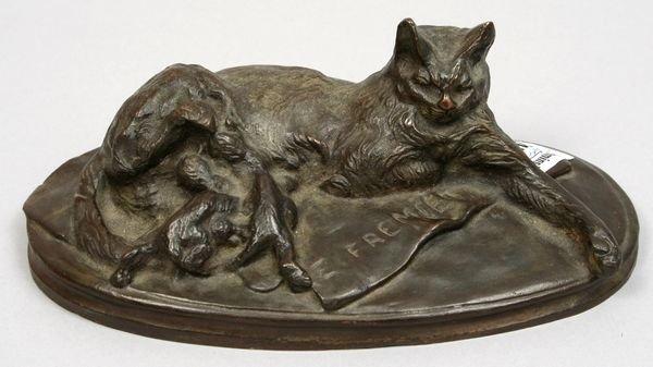13: SIGNED EMANUEL FREMIET, CAT / KITTENS, BRONZE