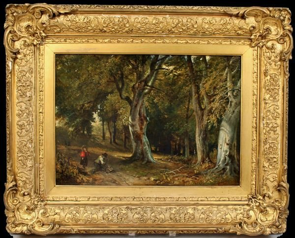14: SIGNED MACKAY, WOOD SCENE / ABBEY, O/C, 1862