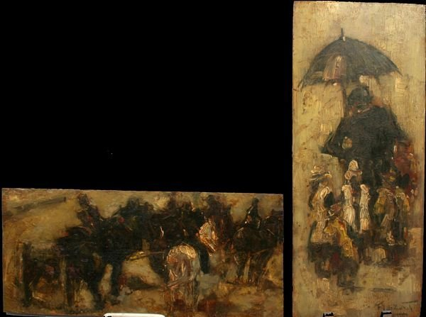 19: 20TH C. FRENCH SCHOOL, TWO OILS ON PANEL