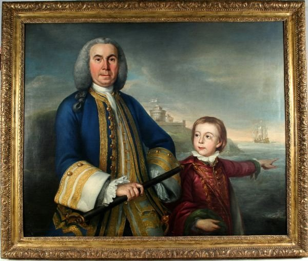 3001: After Reynolds, 18th C., Admiral Vernon, O/Canvas
