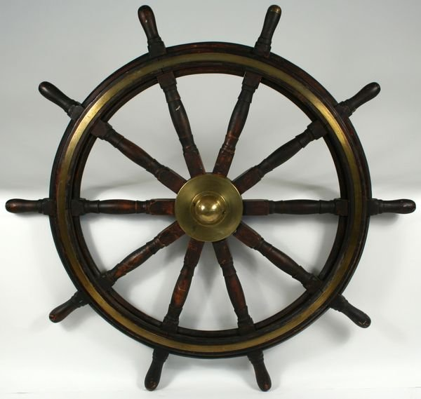 3002:  Mahogany and Brass Ship's Wheel w/ Inlaid Brass