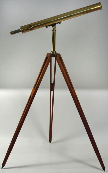3010: Early 20th Century Brass Telescope  Wooden Tripod