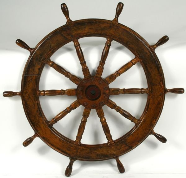 3011: Mid 20th Century Ten-Spoke Wood Ship's Wheel