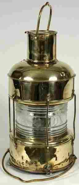 3013: Early 20th C. Brass Ship's Anchor Lantern
