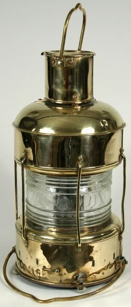 3013: Early 20th C. Brass Ship's Anchor Lantern
