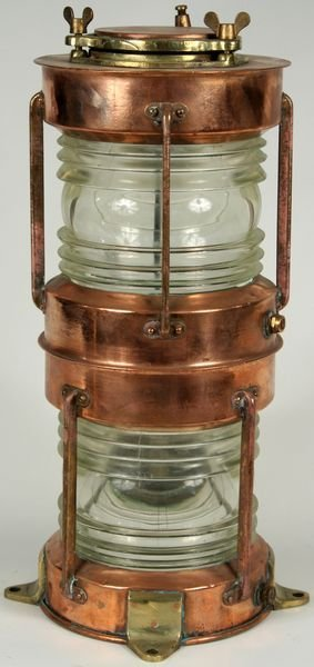 3014:  20th C. Copper & Brass 360 Degree Ship's Lantern