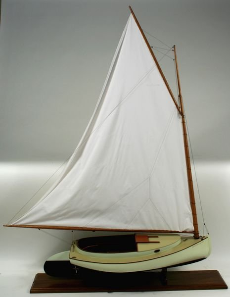 3015: 20th C. Carved Model  Crosby Cat Boat 'Moonlight'