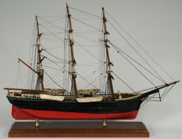 3019: Early 20th Century Model of Whaleship, Mahogany