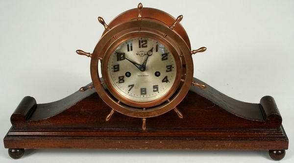 3021: Copper Cased Waterbury Ship's Clock Jeweled