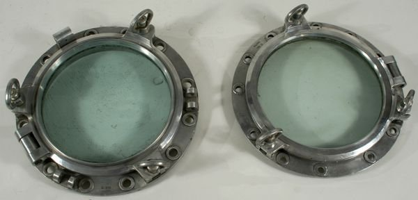 3024: Pair  Mid 20th Century Aluminum Ship's Portholes