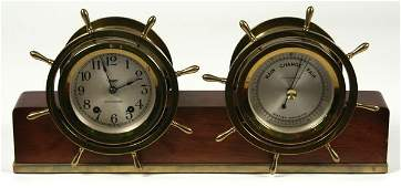 3084 20th C Brass Seth Thomas Ships Clock Barometer