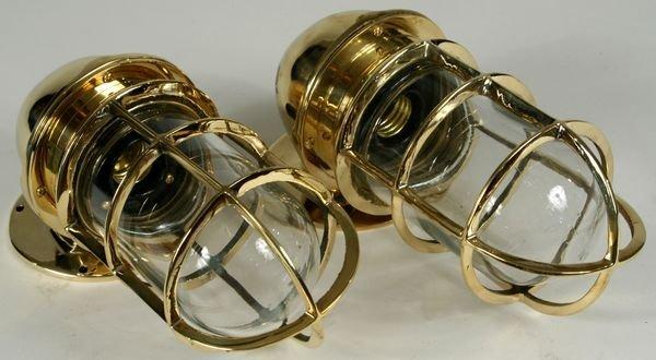 3087: Pair 20th C. Brass Ship's Companionway Lights