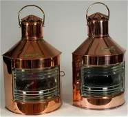 C1930 Copper Ship's Port & Starboard Lanterns