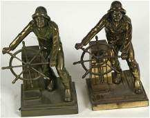 3135 C1950 Solid Brass Gloucester Fishermen Bookends