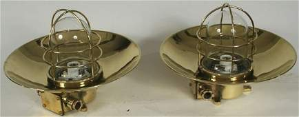 3158 Pair of 20th C Brass Ships Bulkhead Lanterns