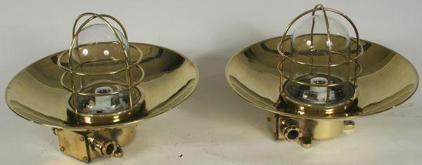 Pair of 20th C. Brass Ship's Bulkhead Lanterns