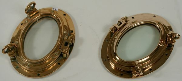 3159: Pair of 20th C. Brass Oval Catboat Portholes