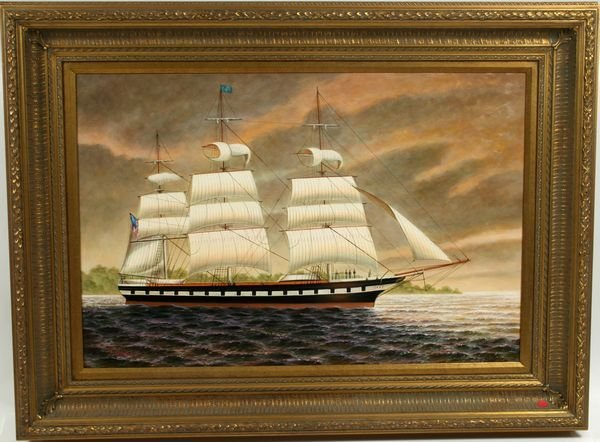 3163: 20th C. Oil on Canvas of American Merchant Ship