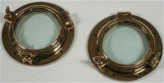 3170 Pair of late 20th C Solid Brass Ships Portholes