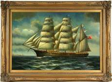 3220 Signed H Parker Clipper Ship Oil on Canvas