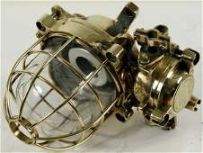 3227 Mid 20th C Brass Ships Bulkhead Lamp by Corsona