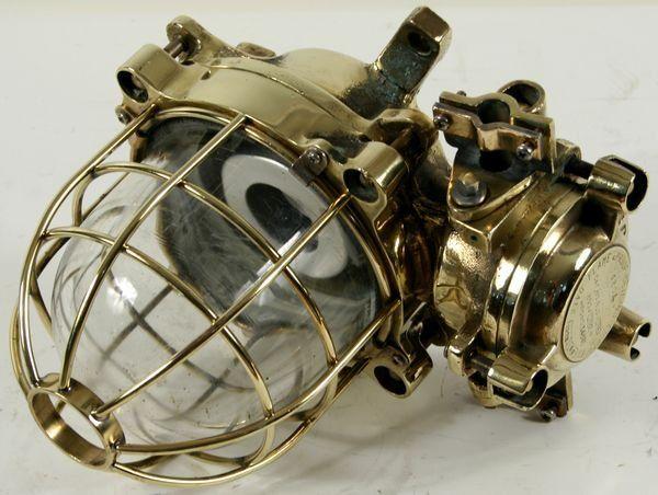 3227: Mid 20th C. Brass Ship's Bulkhead Lamp by Corsona