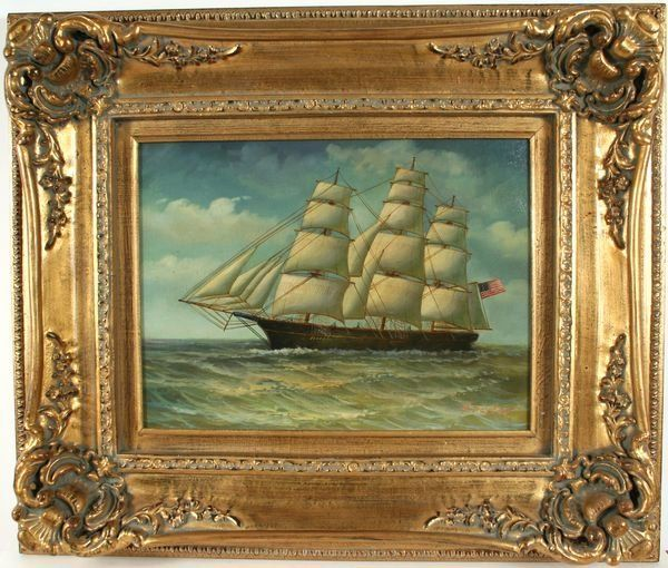 3279: Signed H. Parker, Clipper Ship Painting