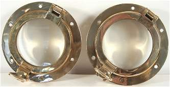 3280 Pair of 20th Century Solid Brass Ships Portholes