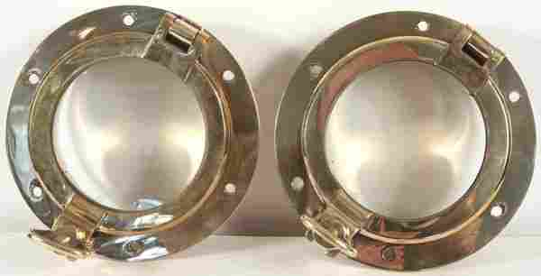 3280: Pair of 20th Century Solid Brass Ship's Portholes