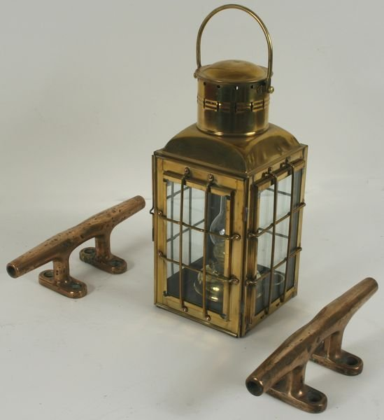 3288: Solid Brass Ship's Lantern, Pair of Brass Cleats