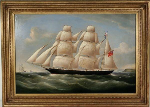 4001: R. B Spencer, 19th C., Clipper Ship, O/C