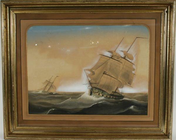 4002: 19th C. Gouache, Merchantman in Heavy Seas