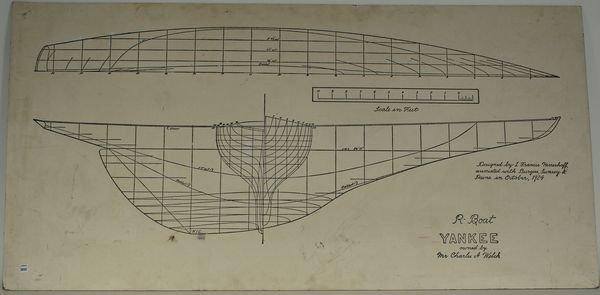 4006: C1950 Painted Panel, Herreshoff's Yacht, 'Yankee'