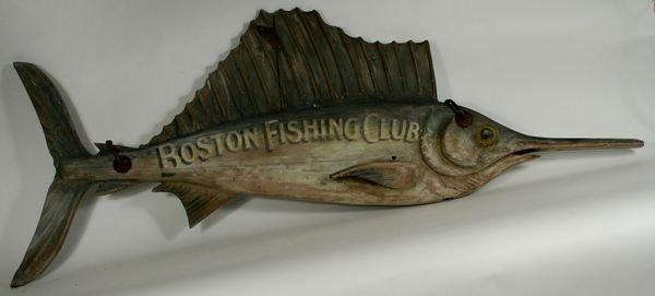 4007: 20th C. Wooden Trade Sign, Boston Fishing Club