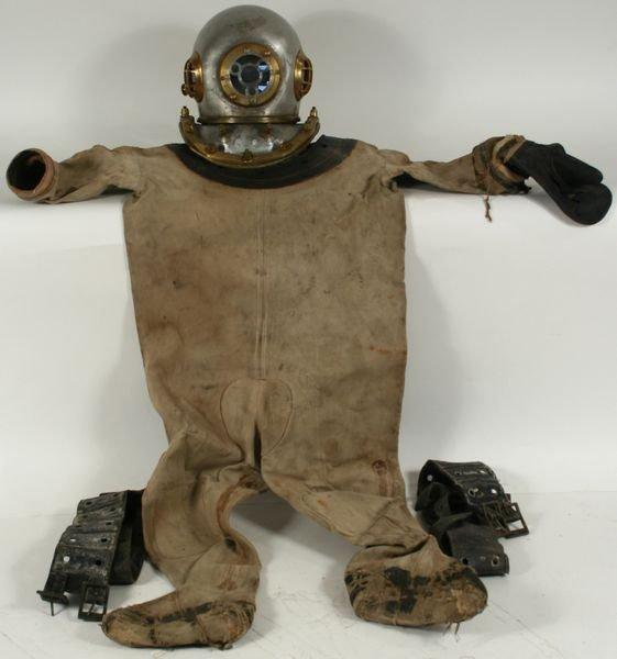 4013: 20th C. Deep Sea Diving Helmet with Suit & Belts