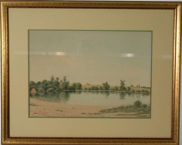 4015: Signed Frederick Cozzens, Lake Scene, W/C