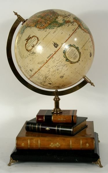 4017: 20th C. Terrestrial Globe on Faux-Leather Book