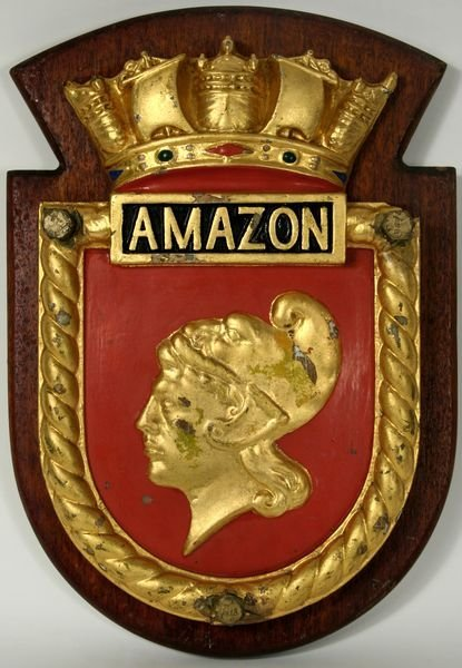 4021: 20th C. Plaque for the British Warship HMS Amazon