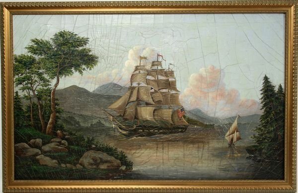 4022: Early 20th Century Painting of an American Ship,
