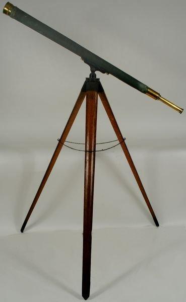 4024:19th C. Tripod Telescope W/ Canvas Covered Barrel