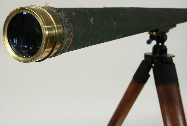 4024:19th C. Tripod Telescope W/ Canvas Covered Barrel - 3