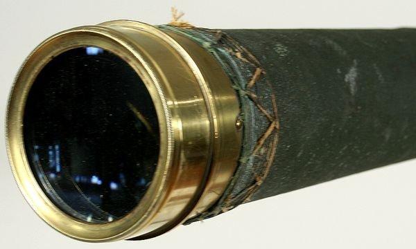 4024:19th C. Tripod Telescope W/ Canvas Covered Barrel - 4