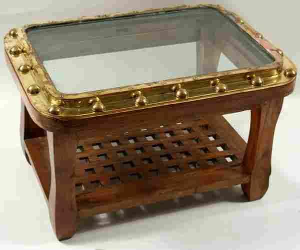 4061: 20th C. Brass Ship's Porthole Table w/Teakwood