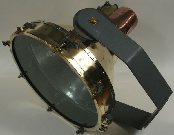 C1940 Copper and Brass Ship's Cargo Light w/ Iron