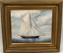 4094 Signed J Glaguer Gaff Rigged Sailing Yacht OC