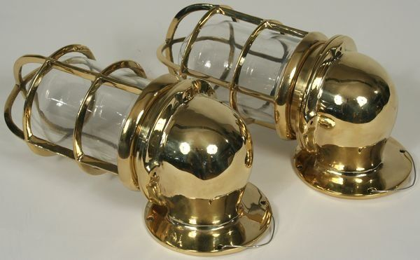 20th C. Solid Brass Ship's Companionway Lamps